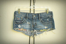 HOLLISTER Hot Mini Denim Short Shorts Exposed Flower Pockets Distressed Size 1