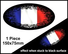 Oval FADE TO BLACK France French Flag vinyl car truck van sticker Decal 150mm
