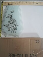 FREE US SHIP OK Touch Lamp Replacement Glass Panel Rose Flower Clear 638-CR1