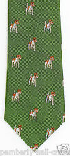 J. Crew Crewcuts Boys Necktie Jack Russell Puppy Dog Woven Silk Green Tie New