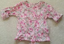 PRIMARK Young Dimension Flowered 100%Cotton Pink Blouse Top Sleeves 12-18 Months