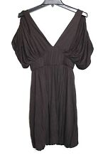 Double Zero - S - Solid Brown Rayon Jersey Knit Cold Shoulder Roman Tunic Dress