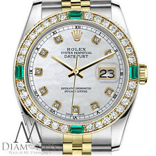 Rolex 36mm Datejust 2 Tone White MOP Dial with Emerald Diamond Accent