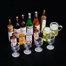 Lot Dolls House Miniature Pub Wine Drink Whisky Bottles, Goblets, Beer Cups 12th