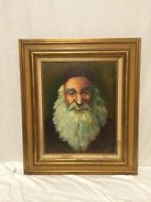Antique Oil Painting On Canvas Of Jewish Rabbi Artist Signed Eileen Waller
