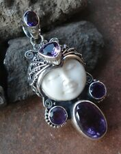 925 Solid Silver-Balinese Goddess Face Pendant With Amethyst Cut-H225