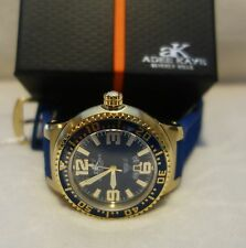 Adee Kaye Mens Polyurethane Band Blue Dial gold Tone Case Watch new