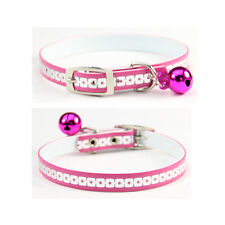Bell Collar For Cats Pink Faux Leather Puppy Pet Supplies Adjustable 8-10''