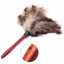 Anti-static Ostrich Feather Fur Brush Duster Dust Cleaning Tool Wooden Handls 1x