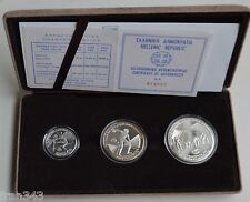 GRECIA GREECE 100 250 & 500 drachmai 1981 EUROPEAN GAMES 1982 SET PROOF