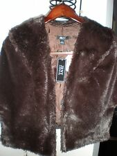 JRNY JR NITES NEW YORK FAUX MINK FUR STOLE CAPE PONCHO  GORGEOUS BROWN BOLTONS