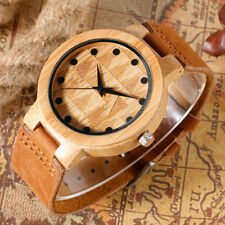 Bamboo Wooden Watch Wood Dial Soft Genuine Leather Quartz Watches for Men Women