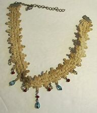 AUTHENTIC VINTAGE LACE CHOKER NECKLACE VICTORIAN COLLAR WITH BEADS