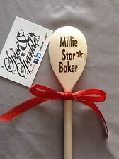 Personalised Engraved Wooden Spoon, Kitchen Baking Cooking Gift Nanna Star Baker