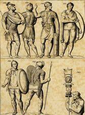 Antiquité Costume Cavaliers Guerriers Romains Gravure originale XVIIIème