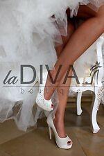 MENBUR ~ Peep Toe Pumps aus Spitze mit Strass 40 Leder ivory weiß Brautschuhe