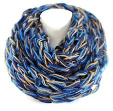 B107 Eternity Chunky Yarn Knit Blue Beige Brown Soft Warm Infinity Scarf