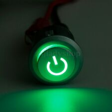 12V DC 22mm Green LED Power Symbol Plastic Push Button Latching ON / Off Switch