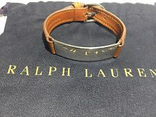 "RALPH LAUREN MEN'S ""ID BRACELET"" STERLING SILVER BROWN LEATHER - WRISTBAND STRAP"