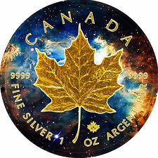 2017 1oz .999 Canadian  Maple Leaf,Nebula Galaxy Background & 24k Gold Gilded