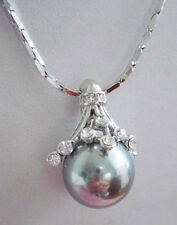 Gray Shell Pearl White Gold Plated Crystal Flower Pendant & Necklace
