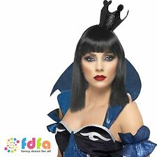 BLACK GLITTER EVIL QUEEN CROWN FAIRYTALE - halloween womens ladies fancy dress