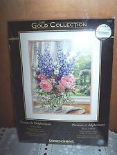 DIMENSIONS GOLD - COUNTED CROSS STITCH - PEONIES AND DELPHINIUMS - NIP