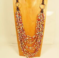 "36"" Multi Strand Natural Red Multi Color Handmade Wood Bead & Seed Bead Necklace"