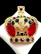 MAGNIFICENT BUTLER & WILSON GOLD-TONE RHINESTONE CABOCHON ROYAL CROWN BROOCH