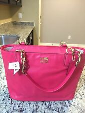 COACH 20466 Madison Leather Chain EW Tote Shoulder Bag PUNCH $298 NWT