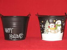 Small Tin Pail / Bucket Candle Holders Set of 2