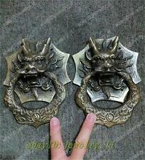 china folk collecton! A Pair Vintage Chinese Bronze Foo Dogs lion Door Knocker