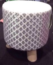 Silver/white Suede Diamante Bling Footstool Rest Pouffe Seat New