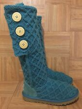 GUC!❤️ UGG Australia Lattice Cardy Knit Boots Teal Blue Crochet 3066 Sz 5