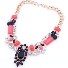 Statement Collier Blogger Kette Halskette Elegant Choker Strass PINK schwarz NEU