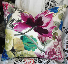 DESIGNERS GUILD ORANGERIE ROSE FABRIC PILLOW BOLSTER FLORAL COTTON COVER 19X16""
