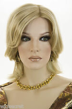 Light Golden Blonde Blonde Medium Short Monofilament Hand Tied Straight Wigs