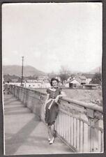 OLD 1940'S REPUBLIC WASHINGTON STATE GIRL ON BRIDGE REPUBLIC SIGN ON ROOF PHOTO