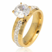 Korean Womens Yellow Gold Filled CZ Wedding eternity love promise Ring Size  8