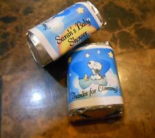 GLOSSY BABY SNOOPY PERSONALIZED HERSHEY NUGGET WRAPPERS BABY SHOWER FAVORS