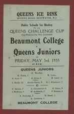 Beaumont College v Queens Juniors. 1935. Ice Hockey.  eb.72