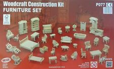Dolls House Furniture Set Construction Kit - Plain Wood - Self Assembly 34 piece