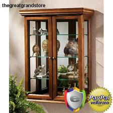 Glass Wood Hanging Display Case Curio Mirror Collectibles Cabinet Den LivingRoom