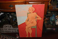 Strange Abstract Oil Painting-Nude Man Woman W/Crossed Hairy Legs-Vibrant Colors