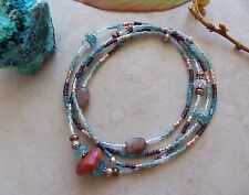 Fire Opal Apatite Aquamarine Sterling Silver Delicate Wrap Stretchy Bracelet