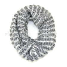 Two Tone Knit Infinity Winter Scarf Elastic Warm Stripped Circle Loop Cowl White