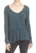 FREE PEOPLE WE THE FREE COASTLINE BLUE LONG SLEEVE THERMAL HENLEY PEPLUM TOP L