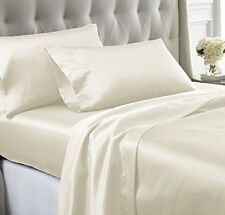 LUXURIOUS SOFT 1000TC SATIN SILK 4PC SHEET SET QUEEN SIZE IVORY SOLID
