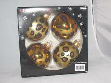 Christmas Shoppe  Gold Glitter Leopard Spots New  Glass ball Set 4  Ornaments