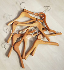 "Lot of 10 Sweater/Blazer WOOD CLOTHES HANGERS, 14"" long x 1"" thick, Child-Size"